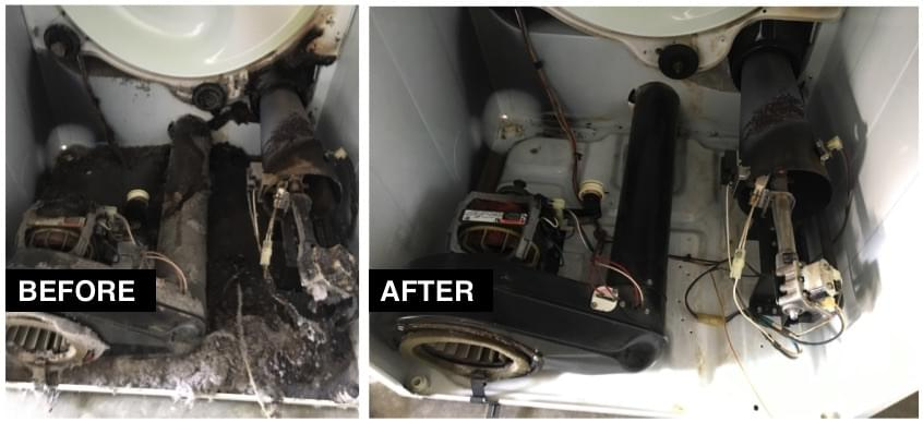before and after image of fixed dryer wiring